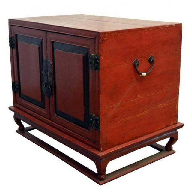 Antique Red Lacquer Bedside Cabinet with Hardware from Mid 19th Century China For Sale - Image 4 of 8