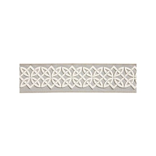 Scalamandre Celtic Embroidered Tape, Silver Grey Fabric For Sale