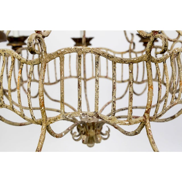 Belle Epoque Belle Epoque Style Tan Painted Birdcage Chandelier With Rock Crystals For Sale - Image 3 of 13