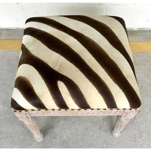 French French Style Zebra Hair on Hide Wood Bench For Sale - Image 3 of 6
