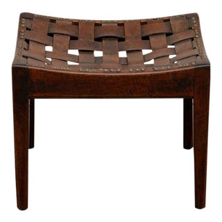 English Arts and Crafts Polished Oak and Leather Stool by Arthur Simpson For Sale