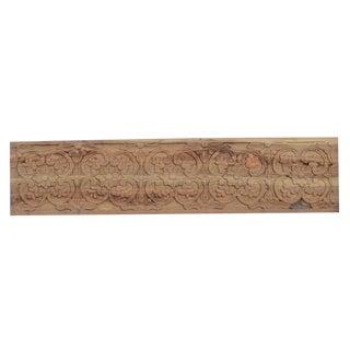 Natural Floral Wooden Carved Panel For Sale