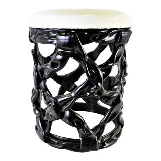 1970s Ribbon Stool Black Resin and White Vynil Seat For Sale