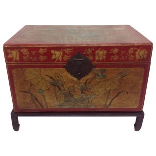 Red Lacquer Zhejiang Leather Trunk