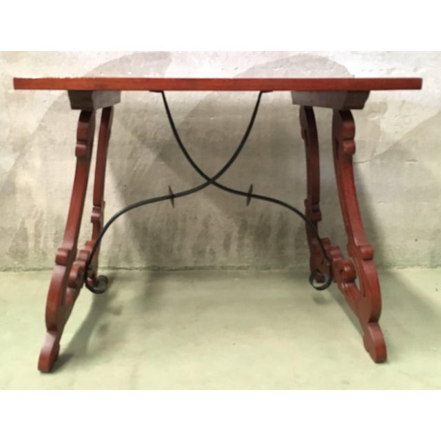 19th Century Baroque Spanish Side Table With Marquetry Top & Lyre Legs For Sale - Image 4 of 13