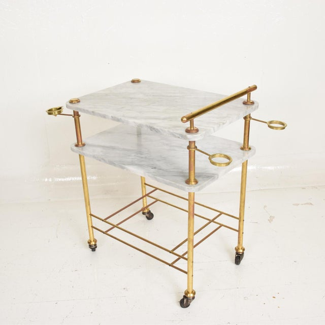 Mid-Century Modern Mid Century Modern Bakery Service Table in Carrara Marble and Brass For Sale - Image 3 of 11