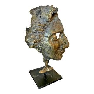 Brutalist Bronze Bust of Man