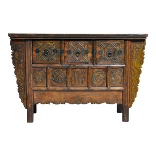 "Mid 19th Century Chinese Butterfly Cabinet With ""Five Seasons"" Carvings For Sale"
