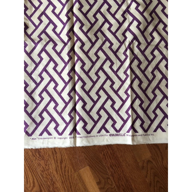 "Quadrille /China Seas ""Aga"" Print Linen Purple Fabric For Sale - Image 4 of 5"