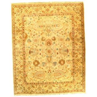 "Pasargad N Y Agra Hand-Knotted Yellow Rug - 8'2"" X 10'3"" For Sale"