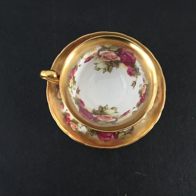 English Traditional Vintage Royal Chelsea Golden Rose Tea Cup & Saucer - 2 Piece For Sale - Image 3 of 6