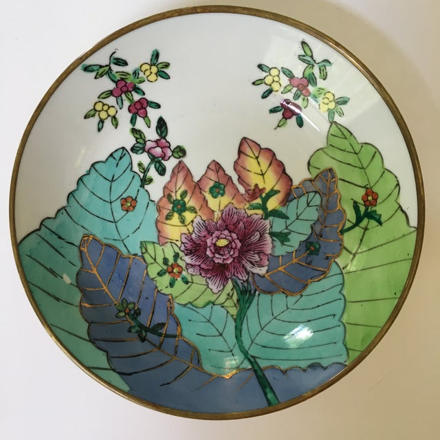 This is a lovely, brightly colored brass encased porcelain catchall/bowl in the Tobacco Leaf pattern. Hand painted and...