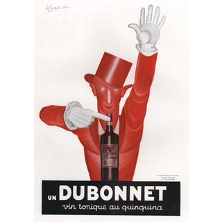 Matted 1932 Art Deco French Dubonnet Alcohol Advertising Print-Cappiello For Sale