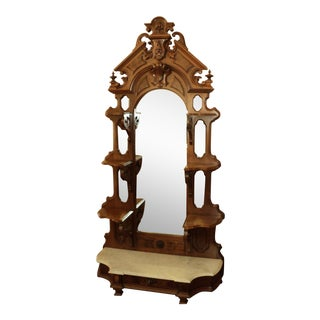 Antique Victorian Walnut Etagere, Display Shelves on Marble Base For Sale