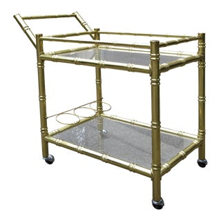 1970s Brass Faux Bamboo & Glass Bar Cart For Sale
