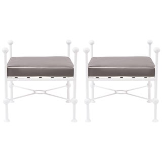 Mid-Century Modern Iron and Upholstered Ottomans - a Pair For Sale