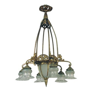 Art Nouveau-Era French Gilt Finish Chandelier With Crystal Glass For Sale