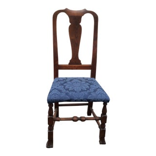 18th Century Queen Anne Blue Fabric Walnut Side Chair