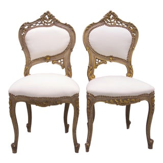 1920s Vintage Art Nouveau Highly Carved Chairs- A Pair For Sale