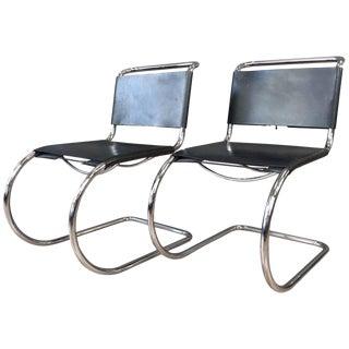 Pair of Vintage Mies Van Der Rohe Mr Side Chairs by Stendig For Sale