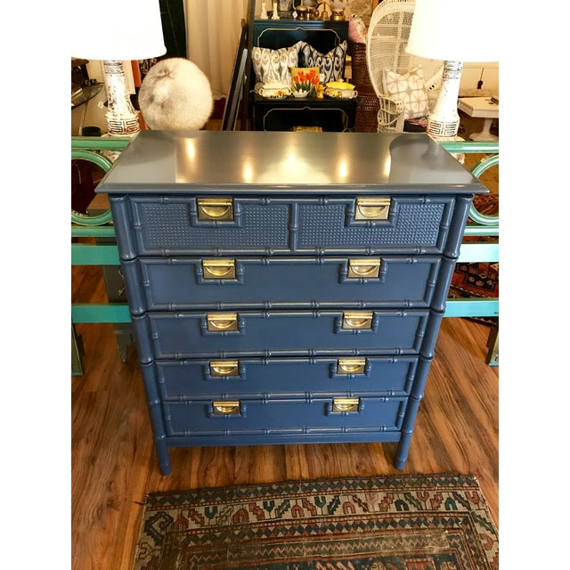 1970s Hale Navy Blue Lacquered Faux Bamboo Highboy For Sale - Image 5 of 8