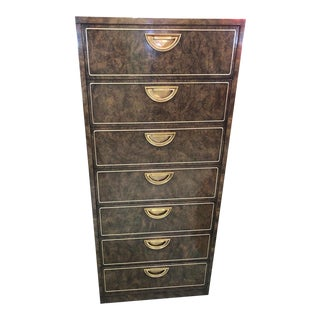 Modern Burlwood Highboy by Mastercraft For Sale