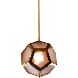 Contemporary Pentagone Brass and Industrial Glass Lantern For Sale