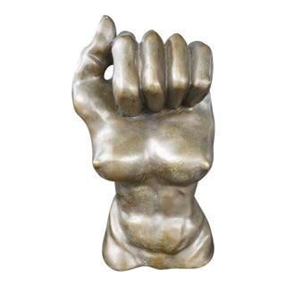 1970s Vintage Surrealist Bronze Male Fist & Female Torso Sculpture For Sale