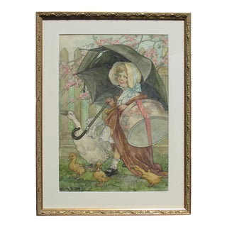 """Vintage Original Illustration """"Girl With Umbrella and Geese"""" by Clara Miller Burd For Sale"""