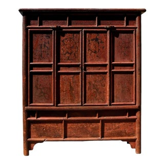 19th Century Antique Rustic Crackle Chinese Armoire For Sale