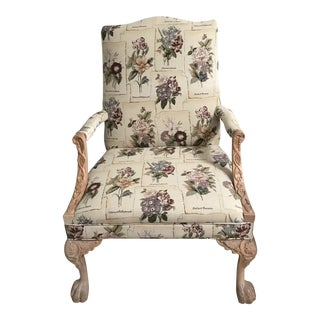 Queen Chair With Claw Legs - Cream and Lavender Pattern For Sale