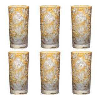 Verdure Highball Glasses, Set of 6, Amber For Sale