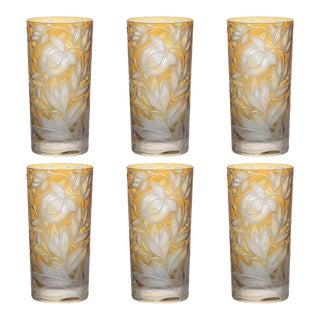 Verdure Highball Glasses, Set of 6, Amber For Sale