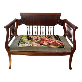 1940s Upcycled Needlepoint Settee For Sale
