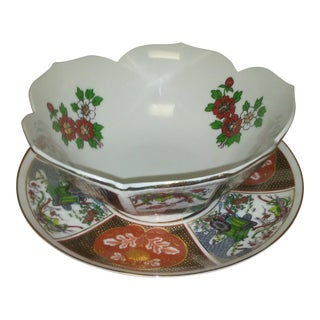 Hand-painted Bowl & Plate - a Pair For Sale