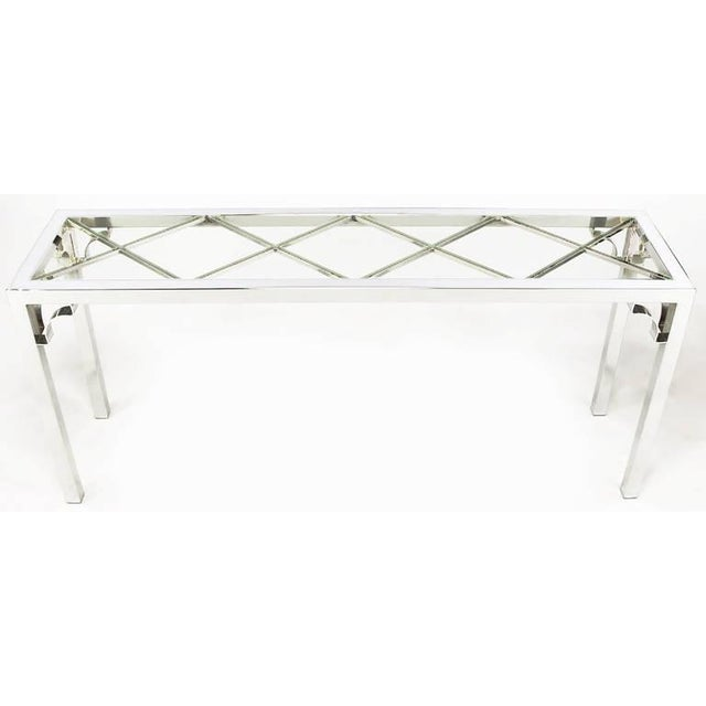 Chrome and Glass Chinese Chippendale Console Table - Image 2 of 6