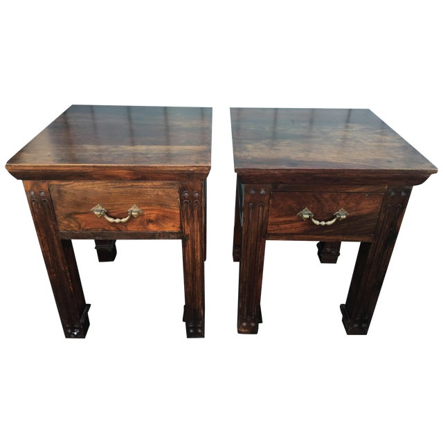 Wood Rustic Side Tables - A Pair - Image 1 of 6