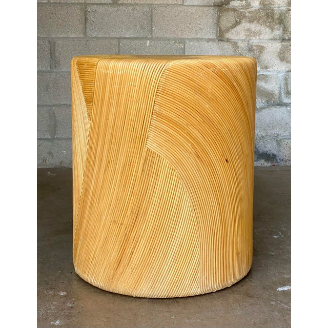 Stunning vintage coastal dining table pedestal. Done in a warm pencil reed. The most incredible swirl pattern on all sides...