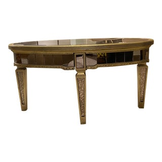 French Oval Mirrored Coffee Table For Sale