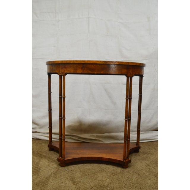 Burlwood Baker Vintage Burl Wood & Walnut Demilune Console Table For Sale - Image 7 of 13
