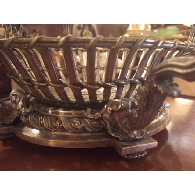 Bronze 1900s Vintage French Silvered Bronze Candle Center Bowl Basket For Sale - Image 7 of 11