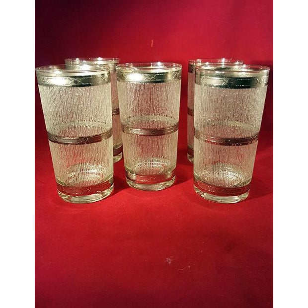 Culver Suburban Wet Textured Platinum Banded Tumblers - Set of 6 For Sale - Image 11 of 11