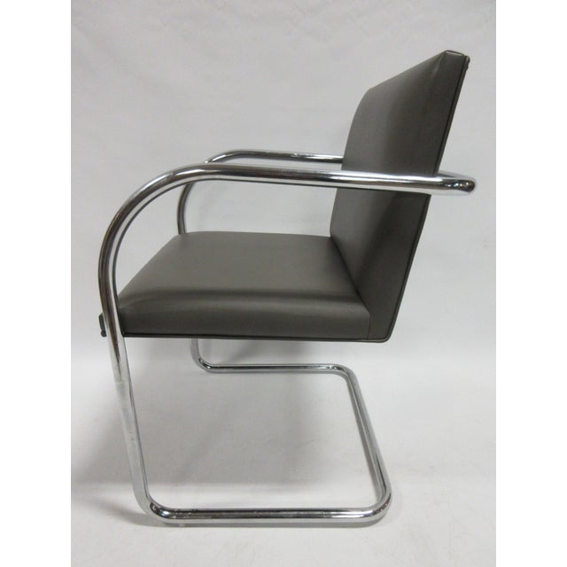 Chrome Mies Van Der Rohe Brno Guest Chair in Brown - a Pair For Sale - Image 7 of 10