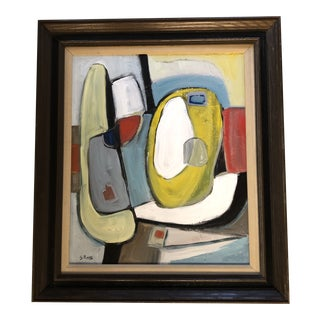 Original Contemporary Stewart Ross Modernist Abstract Painting in Vintage Frame For Sale