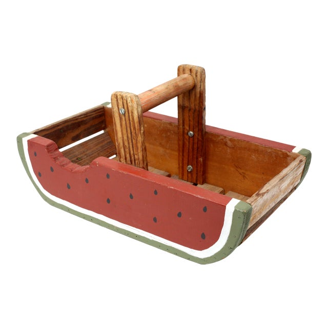 Vintage Handmade Wood Watermelon Slice Basket For Sale