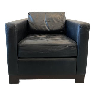 Design Within Reach Black Leather Club Chair For Sale
