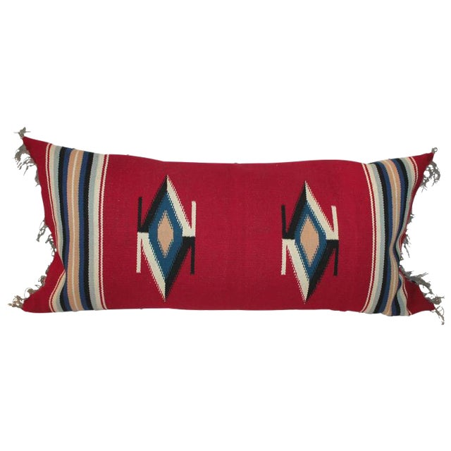Mexican Indian Handwoven Serape Bolster Pillow For Sale