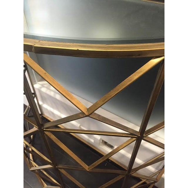 Gold Handforged Iron Geometric Console Table - Image 5 of 5