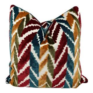 "Chevron Stripe Cut Velvet 22"" Pillows-A Pair For Sale"