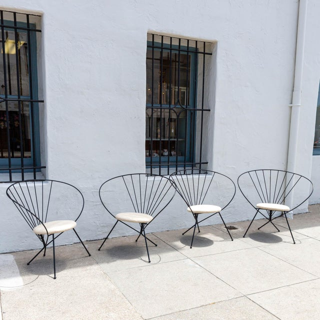 1953 Robert Kasindorf iron hoop chairs, newly reupholstered with Sunbrella fabric! Two pairs available!
